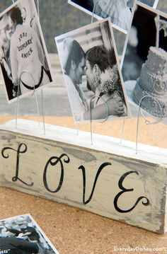 Ditch expensive frames and make a wire photo holder with materials you already have in the craft room! Wire Picture Holders, Photo Holders, Photo On Wood, Picture On Wood, Photo Craft, Diy Photo, Painting Wood White, Photo Blocks, Photo Displays