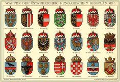 K&K Monarchie Österreich Ungarn - Wappen der Kronländer - Lithographie um 1880 Antique Maps, Antique Prints, Rare Antique, Vintage Prints, Christmas Weather, Austro Hungarian, Local History, Old Paper, Coat Of Arms