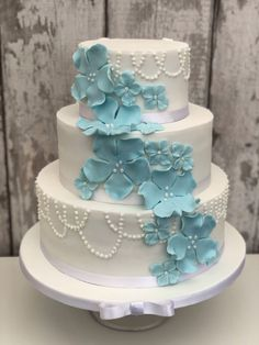 White iced cake with baby blue flowers 3 Tier Wedding Cakes, Wedding Desserts, Blue Wedding, Spring Wedding, White Iced Cake, Ice Cake, Wedding Photographer London, Just Cakes, Culinary Arts