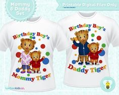Daniel Tiger Iron On Set for Mom & Dad, Birthday Style #01 • Printable Images - LuvibeeKidsCo