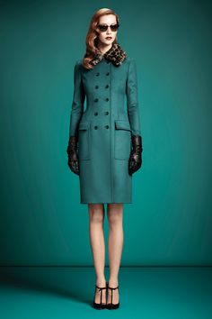 PRE-FALL 2013  Gucci - Love the green jacket & fur collar paired with T-bar heels. So classic with a nod to the 1950's