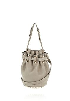 ALEXANDER WANG EXCLUSIVE SMALL DIEGO IN PEBBLED OYSTER WITH PALE GOLD
