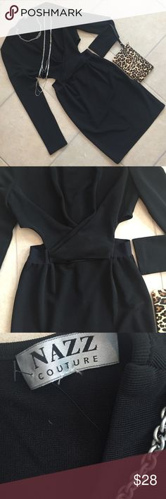Body con cutout dress NWT Nazz Couture boutique dress features cross bodice to waist, side cutouts, hidden back zip, elasticized waist, fully lined bodice Super good condition, fabric content 95% polyester, 5% spandex. Measurements  armpit to armpit16 1/2 inches waist 13 inches, length 35 3/4 inches Nazz Dresses