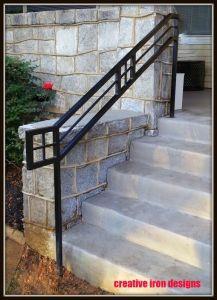 Creative Iron Designs Porch Handrails, Outdoor Stair Railing, Front Porch Railings, Modern Stair Railing, Front Porch Steps, Porch Stairs, Wrought Iron Stair Railing, Stair Handrail, Railing Design