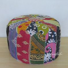 Small Vintage Pouf Ottoman Patchwork Foot Stool Kantha pouf Cover Village Throw #Unbranded #Ethnic