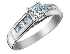 Princess Cut Diamond Engagement Ring 1.0 Carat (ctw) in 14K White Gold (Certified)