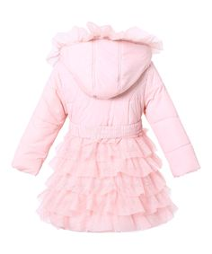 Richie House Pink Mesh Ruffle Hooded Puffer Coat - Toddler & Girls | zulily