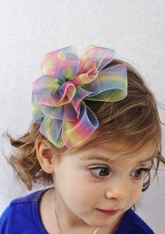 Rainbow Hair Bow Tie Dye - Baby Girl Toddler Birthday Party Photo Shoot