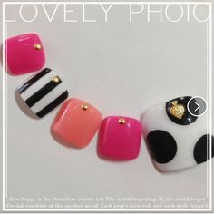 Nail art manicure gel polisher toes shocking pink striped summer polka dots
