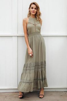 e73e987f211 Halter Hollow Out Open Back Maxi Dress