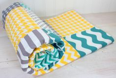 Baby Blanket, Unisex Patchwork Baby Blanket, Boy or Girl Minky Blanket, Photography Prop, Gray, Yellow and Teal Blue Chevron Dots, Stripes by theredpistachio on Etsy https://www.etsy.com/listing/190872497/baby-blanket-unisex-patchwork-baby