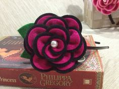 Black and Hot Pink Rose Headband with a Pearl top by Simply4Love. Perfect for summer days!