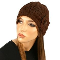 Chunky Thick 2ply Soft Knit Crochet Flower w Crystal Winter Beanie Hat Cap Brown SK Hat shop. $12.95