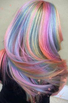 Exotic Hair Color, Beautiful Hair Color, Hair Color Purple, Hair Dye Colors, Cool Hair Color, Peacock Hair Color, Galaxy Hair Color, Peekaboo Hair Colors, Bright Hair Colors
