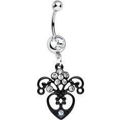 Clear Gem Ornamental Black Victorian Flowering Heart Dangle Belly Ring