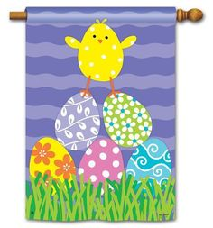 Decorative easter house flags