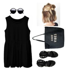 """Casual black"" by ayukatz ❤ liked on Polyvore featuring Canvas by Lands' End, Venus, black and oontood"