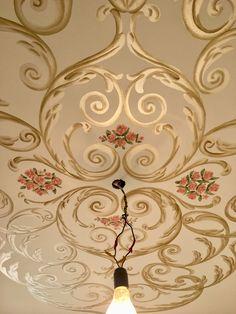Pop Ceiling Design, Bedroom False Ceiling Design, Ceiling Decor, Damask Wall Stencils, Stencil Patterns, Islamic Motifs, Vintage Floral Backgrounds, Wall Painting Decor, Hallway Designs