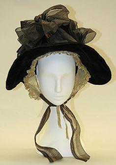 big bonnet, costumes, poke bonnet, art, 1830s, american made, 1835, 1800s, hat