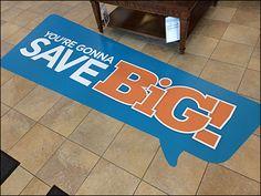 Speech Balloon Floor Graphic Saves Big – Fixtures Close Up Speech Balloon, Communication, Bubbles, Retail, Flooring, Blue, Color, Colour, Wood Flooring