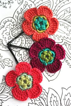 Pink and Purple Crochet Flower Hair Pin by CatWomanCrafts on Etsy, $10.00