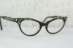Vintage 60s Cat Eye Glasses 1950s Womens Glasses Black Rhinestone Cream Pinstripe Etched 46/20 J Evrard Optical Frame France