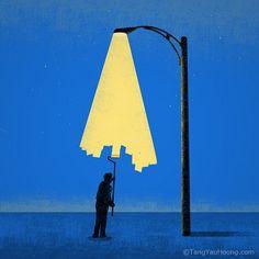 'Light Painter' (by TangYauHoong). #art #illustration #blueandyellow