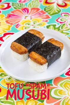 "Tofu ""Spam"" Musubi -- a meatless twist on the popular Hawaiian Spam musubi (rice ball)."