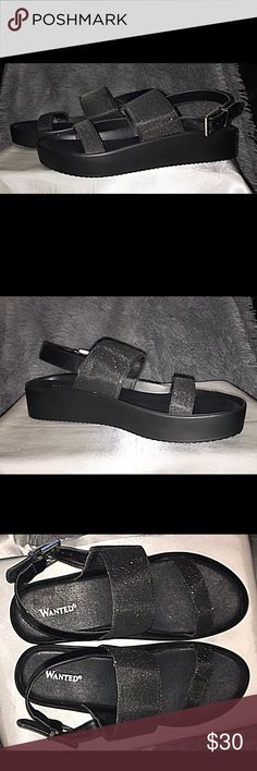 ✅ Wanted Black Glitter Slide Sandals New, never worn Wanted black, glitter slide sandals.  Even more gorgeous in person! Wanted Shoes Sandals