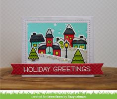 Today I'm over at the Lawn Fawn blog sharing a card using the new Shadow Box Card die. I created a little scene using the new Winter Village stamp set, which is perfect for creating wintery scenes.