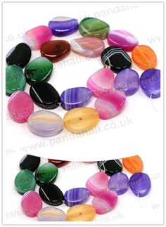 Natural Striped Agate Beads Strands, Dyed, Twist Oval, Mixed Color, 20x15x7mm(G-D204-20x15mm-M)