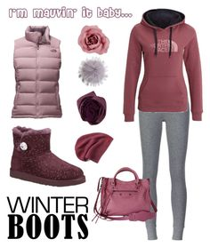 """""""So Cozy: Winter Boots"""" by michele-nyc ❤ liked on Polyvore featuring Converse, UGG Australia, ATM by Anthony Thomas Melillo, The North Face, Bajra and Balenciaga"""