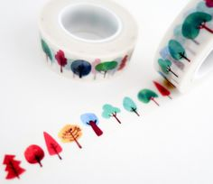 Single roll of washi tape with colorful watercolor tree pattern. Great for scrapbooking, gift wrapping, decorating cards and envelopes and more! Add a little dash of cuteness to any crafting project!