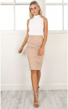 Claim It Back Skirt In Mocha Produced, Pencil Skirt Work, Pencil Skirt Outfits, High Waisted Pencil Skirt, Business Dresses, Business Casual Outfits, Office Outfits, Office Looks, Work Fashion, Fashion Outfits
