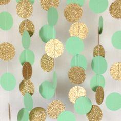 Mint Green and Gold Garland, Paper Garland, Mint Garland, Bridal Shower Garland…