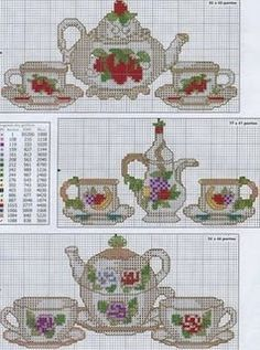 Tea pots, cups and saucers