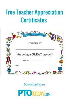 Download our Teacher Appreciation Certificate to give to teacher during Teacher Appreciation Week.