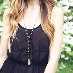Akara Necklace (Green) - Rosary Style, Labradorite, Olive Jade, Green Zebra Jasper