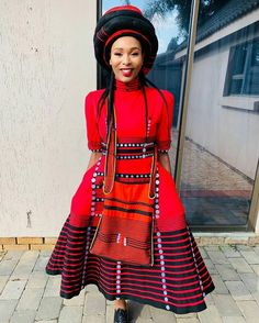 Do you want to craft a long gown from your African fabrics and don't have an idea of where to start or what to make? Then this LOVELY XHOSA ATTIRE is for you. African Dresses For Women, African Print Dresses, African Fashion Dresses, African Clothes, African Prints, African Women, South African Traditional Dresses, Traditional Outfits, Traditional Wedding