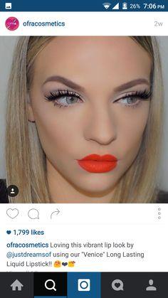 #lip #swatch #ofracosmetics #orange #red