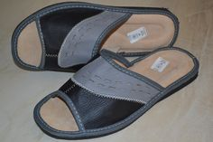 Mens European Leather Grey Slipper Kapcie