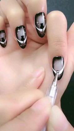 Cat Nail Designs, Acrylic Nail Designs Coffin, Elegant Nail Designs, Black Nail Designs, Simple Acrylic Nails, Nail Designs Spring, Black Nail Art, Black Nails, Vintage Nails
