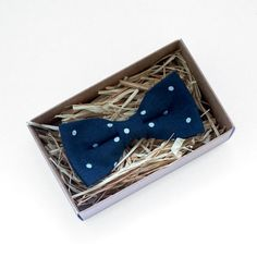 Navy and white Polka dots Bowtie blue boys bow tie by Luwrine