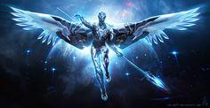The Defenders Digital Art Character Drawings Paintings & Airbrushing Sci-Fi Dark Fantasy Art, Fantasy Artwork, Fantasy Character Design, Character Design Inspiration, Character Art, Character Concept, Futuristic Armour, Futuristic Art, Robot Concept Art
