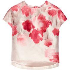 Lela Rose Floral-print wool and silk-blend shantung top