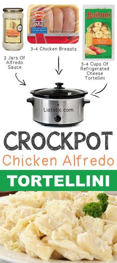 Crockpot Chicken Alfredo Tortellini 12 Mind-Blowing Ways To Cook Meat In… Crock Pot Food, Crockpot Dishes, Crock Pot Slow Cooker, Slow Cooker Recipes, Cooking Recipes, Quick Recipes, Meat Recipes, Dinner Recipes, Italian Recipes