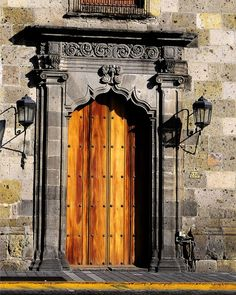 Old fortress door in Guadalajara, Mexico.