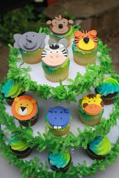 Fondant Jungle Animal Cupcake Toppers by Clementinescupcakes