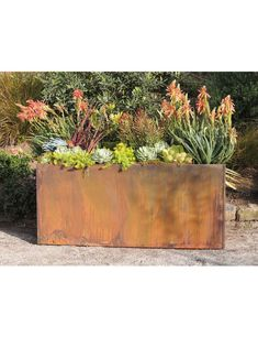 Corten Steel Trough Planters by Nice Planter Trough Planters, Corten Steel Planters, Metal Planters, Large Planters, Large Planter Boxes, Pallet Planters, Modern Planters, Succulent Landscaping, Backyard Landscaping