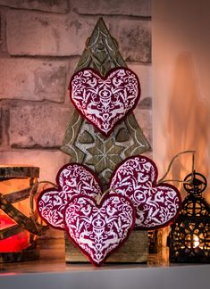 Excited to share the latest addition to my #etsy shop: Four Handmade Heart-Shaped Christmas Ornaments, Embroidered Christmas Tree Hangings, Felt Winter Nordic Decor, Scandinavian Home Ornament http://etsy.me/2mPZF7S